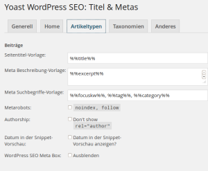 WordPress SEO Schlüsselwort Konfiguration