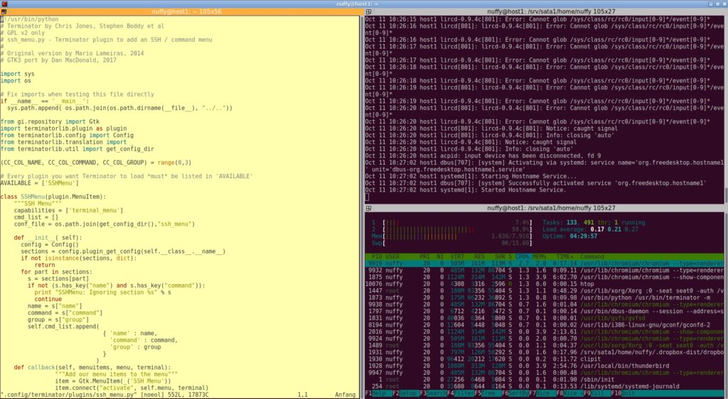 Beispiel für Terminator als Terminal unter Linux