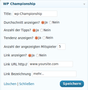 wp-championship widget options